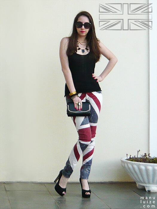 Look calça Union Jack flag