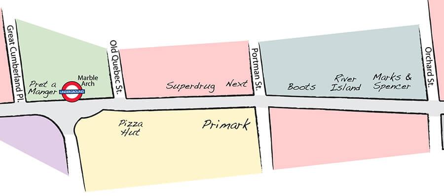 Guia de compras e mapa das lojas na Oxford Street em Londres