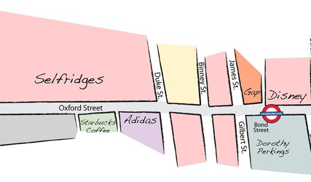 Guia de compras e mapa de lojas da Oxford Street em Londres