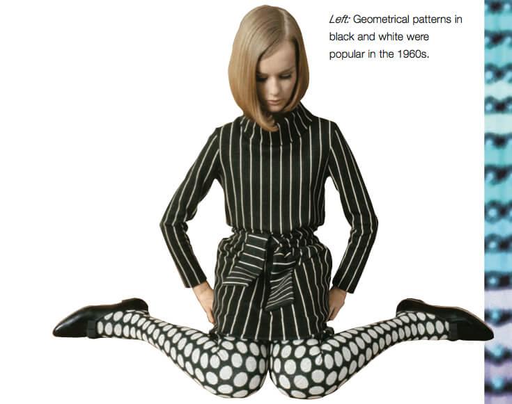 Estampas geométricas em preto e branco nos anos 60