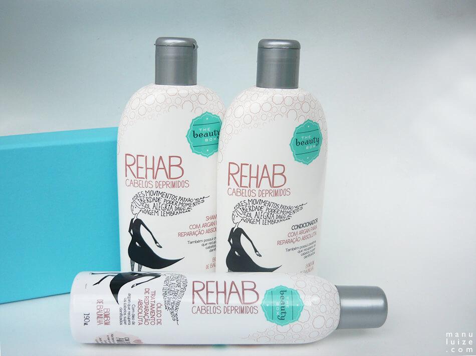 Shampoo, condicionador e óleo da The Beauty Box, linha Rehab