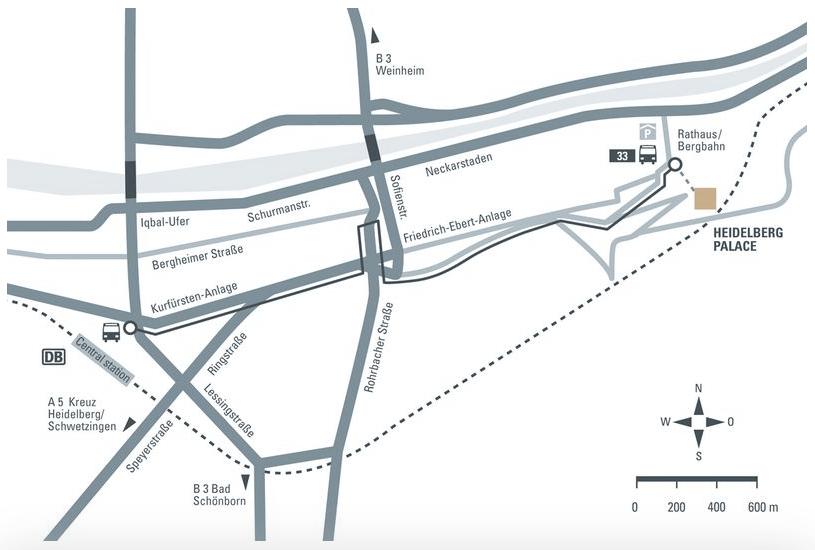 Como chegar no Castelo de Heidelberg - Mapa