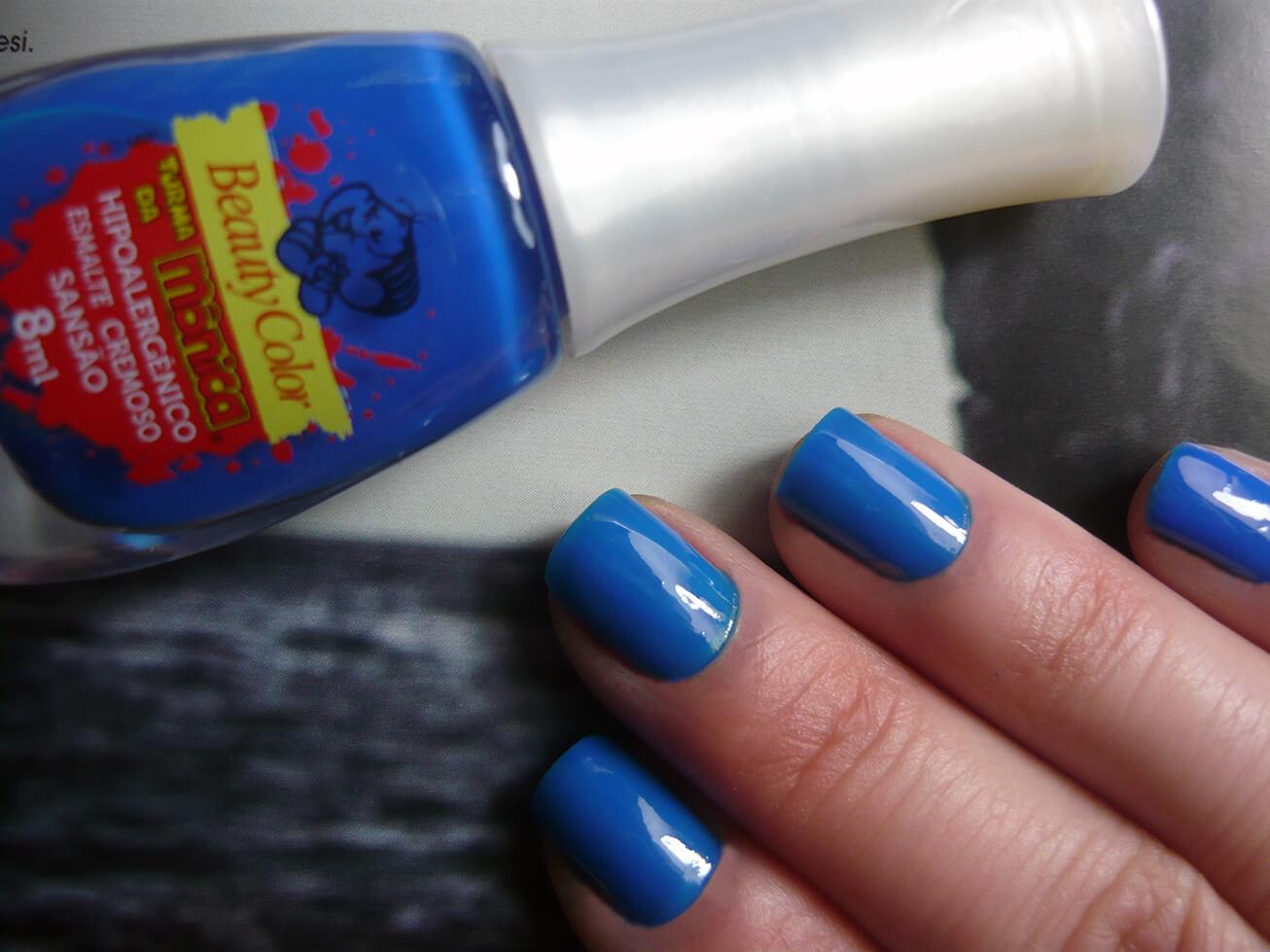Esmalte Sansão (azul cobalto) - Beauty Color linha Turma da Mônica