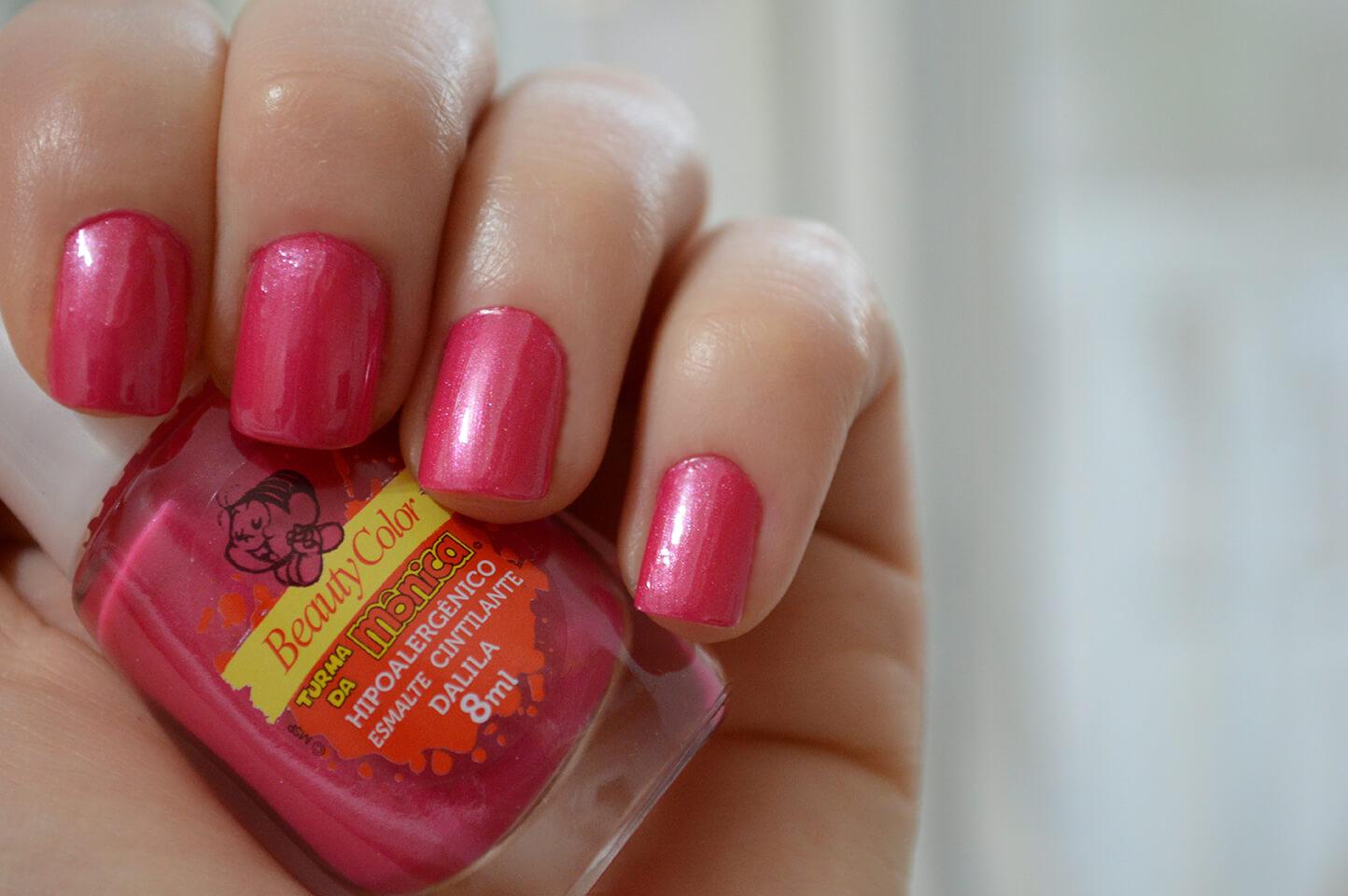 Esmalte Dalila (rosa cintilante) da Beauty Color, Turma da Mônica