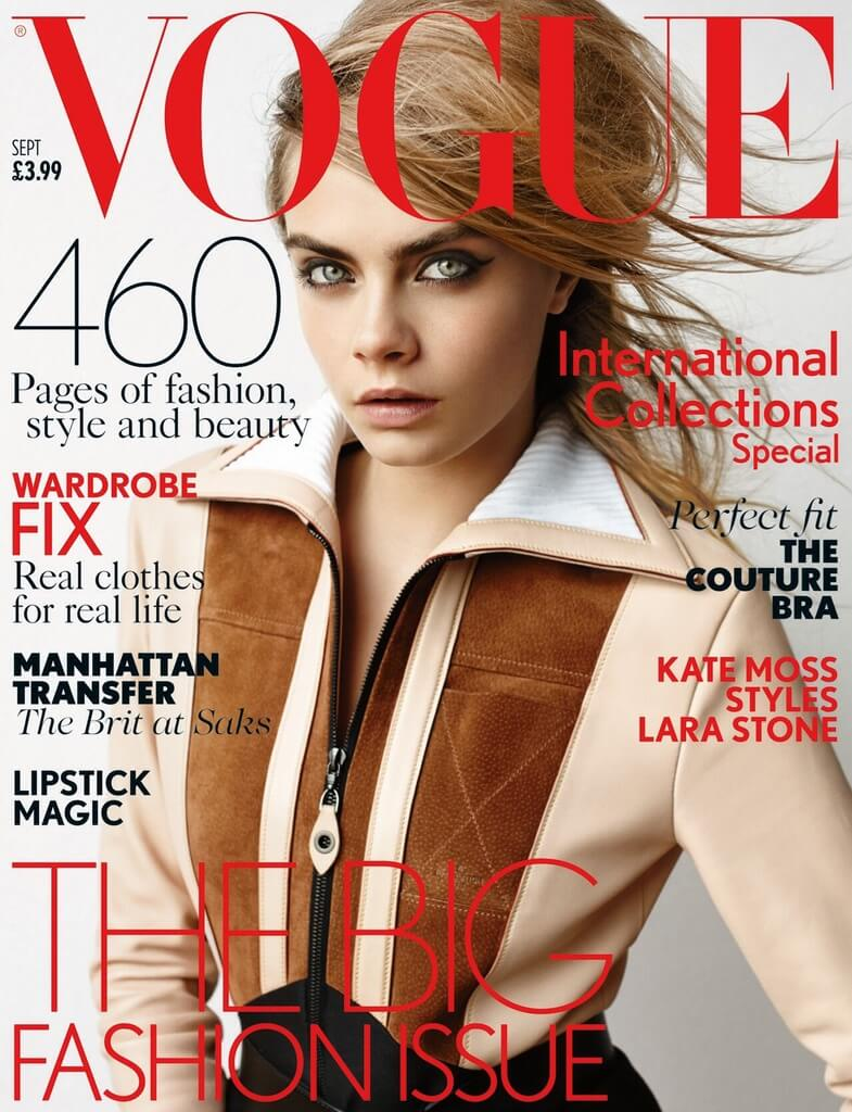 UK Vogue September 2014 cover : Cara Delevingne by Mario Testino