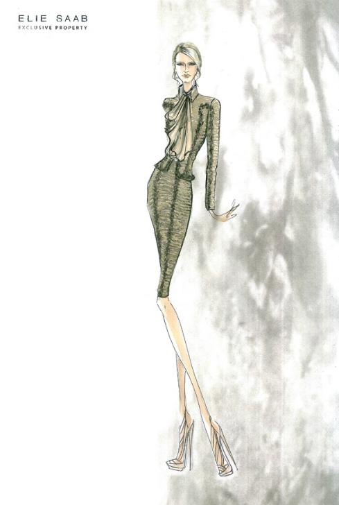 Croqui de moda Elie Saab
