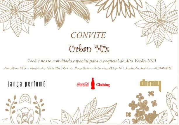 Convite de lançamento Urban Mix em Curitiba