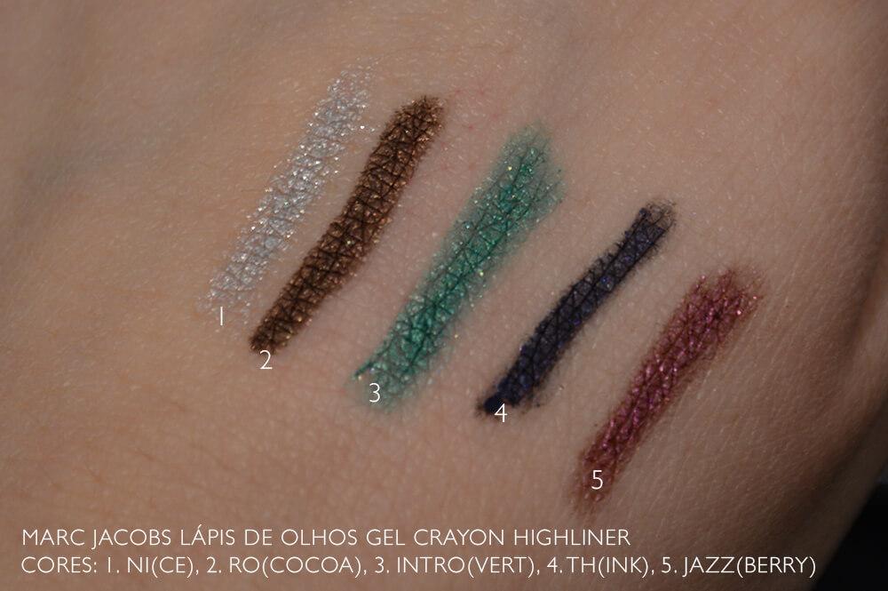 Lápis de olho Marc jacobs Beauty: Highliner swatches das cores