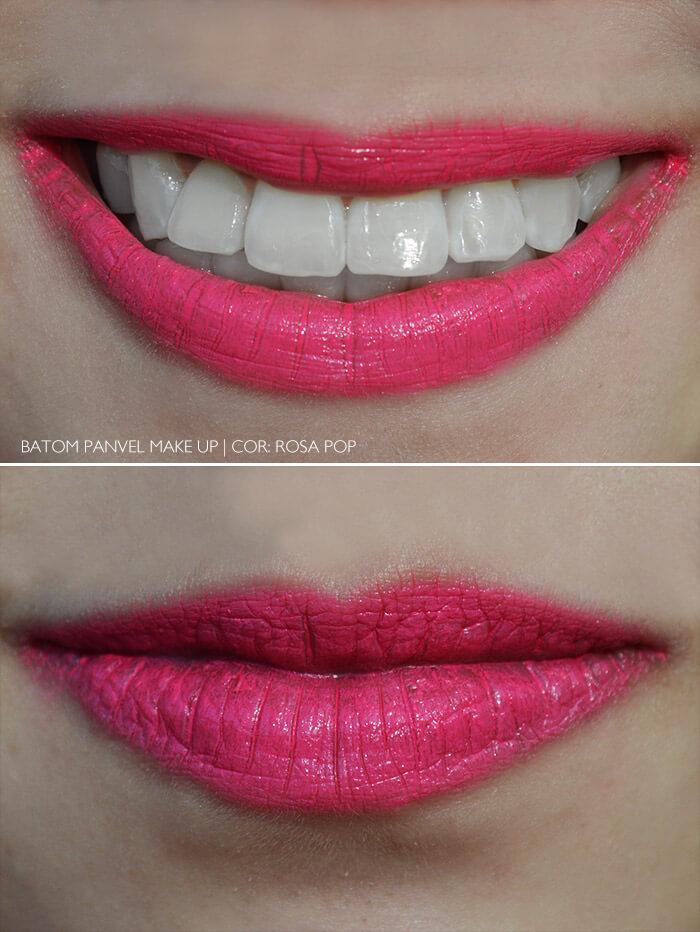 Batom Rosa Pop da Panvel, nos lábios