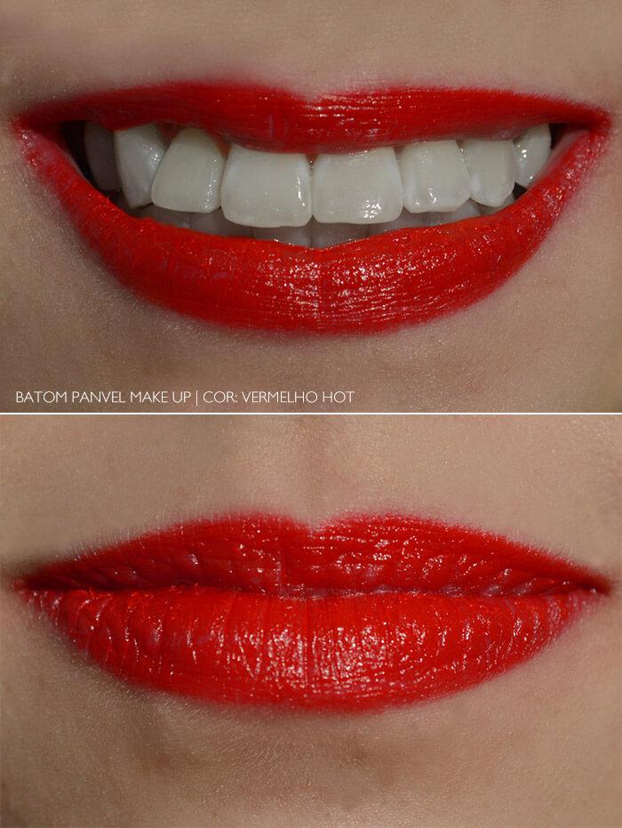 Batom Vermelho Hot da Panvel nos lábios