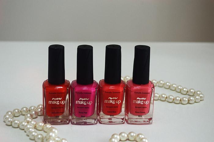 Esmaltes Rosa e Vermelho da Panvel Make Up Colorful