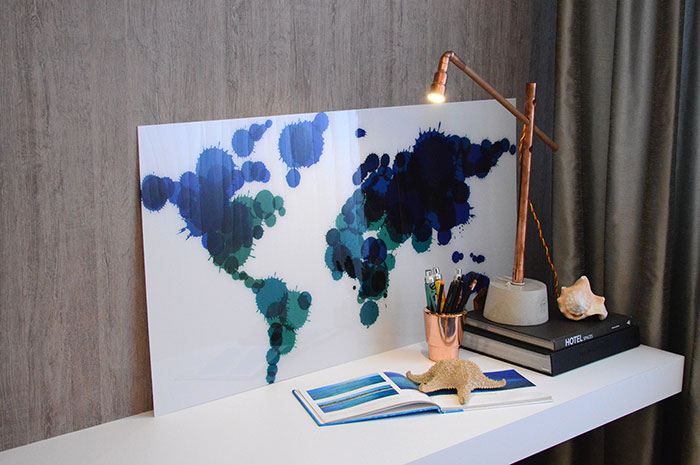 Mapa mundi, um detalhe na decoração da sala