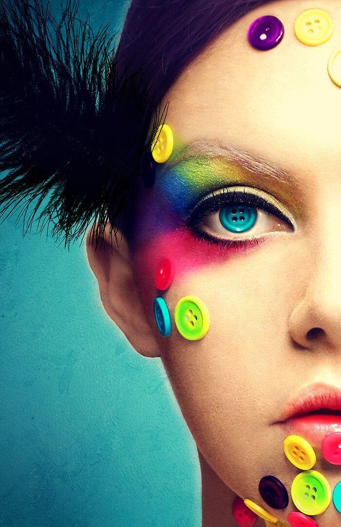 Maquiagem Artística Colorida para Carnaval