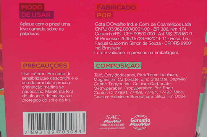 Composição da Sombra Duo Panvel Make Up Colorful