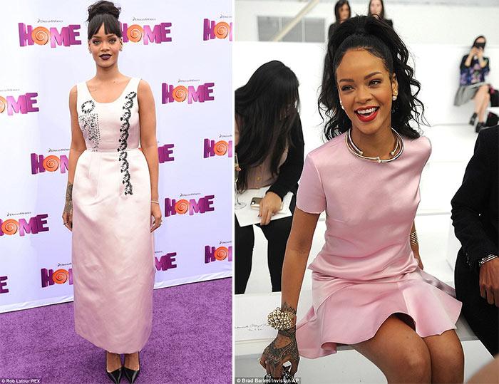 Rihanna de vestido rosa blush