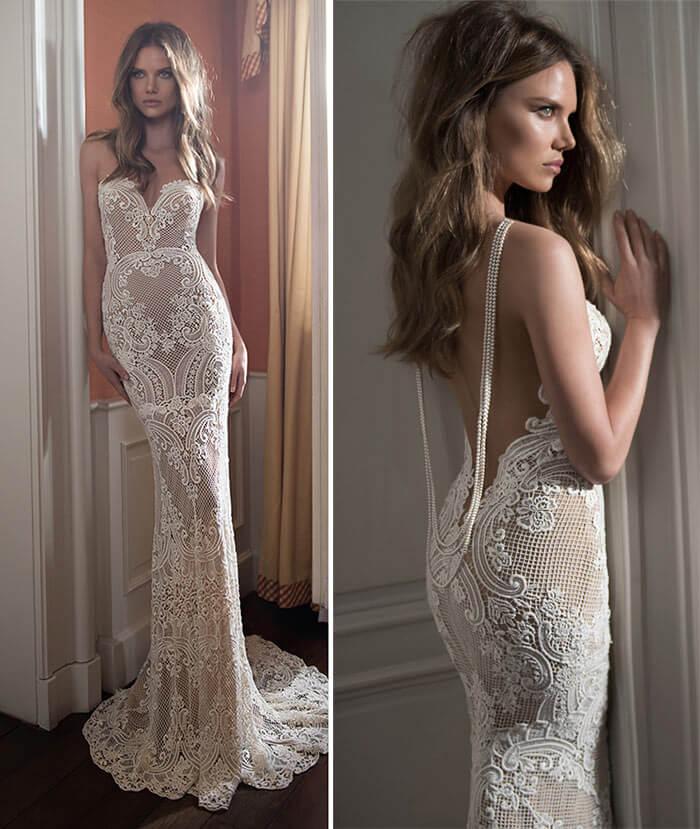 Vestido de noiva nude com branco