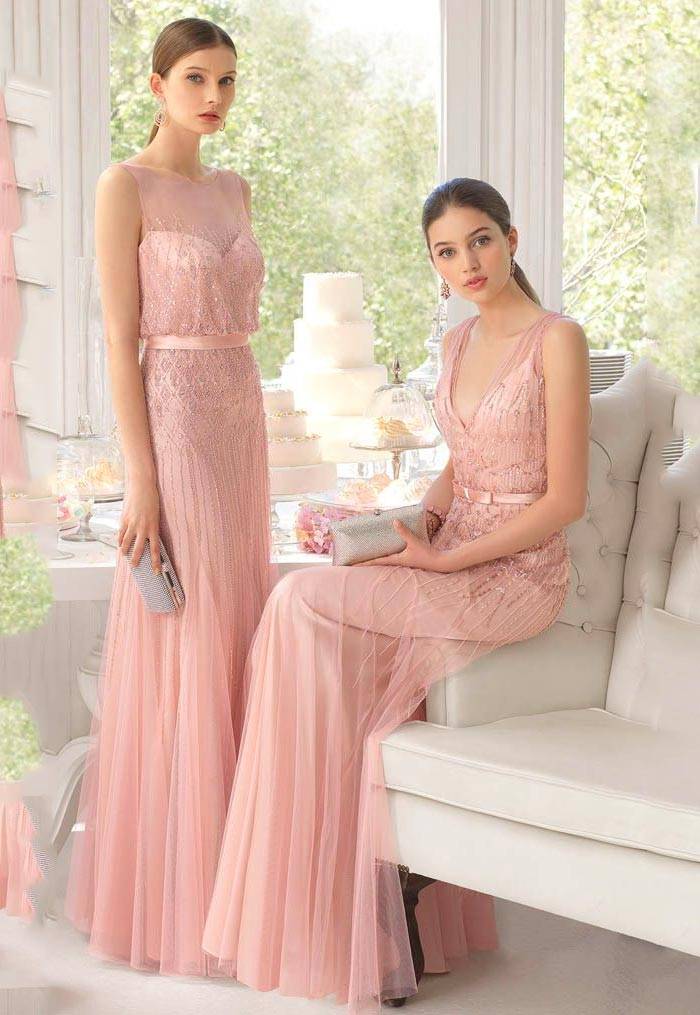 Vestido de Festa rosa blush