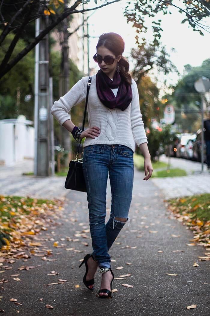 Manu Luize: Look jeans e tricô