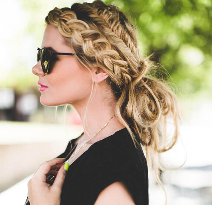 Braided hairstyle on a updo | 50 Braids