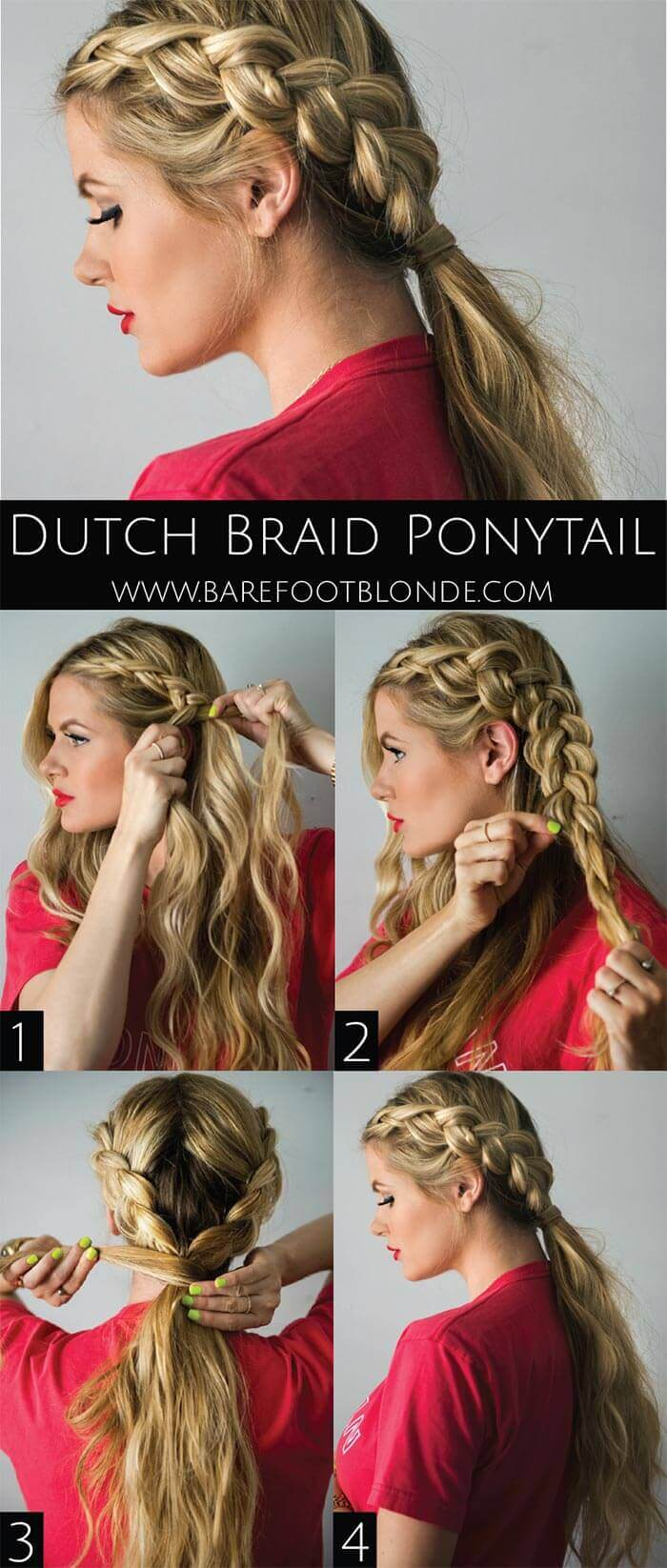 Dutch braid hairstyles: Tutorial