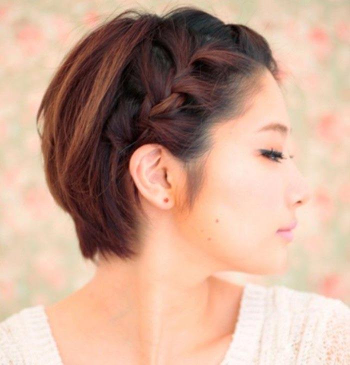 Penteado com trança para cabelos bem curtos