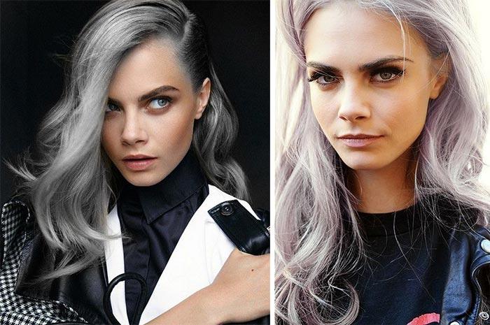 Cara Delevingne de cabelo cinza