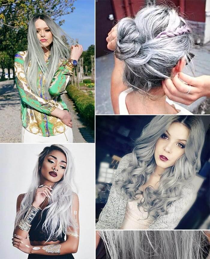 Inspiração com cabelo cinza
