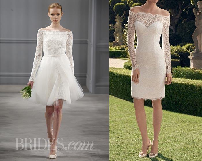 Vestidos de noiva curtos decote ombro