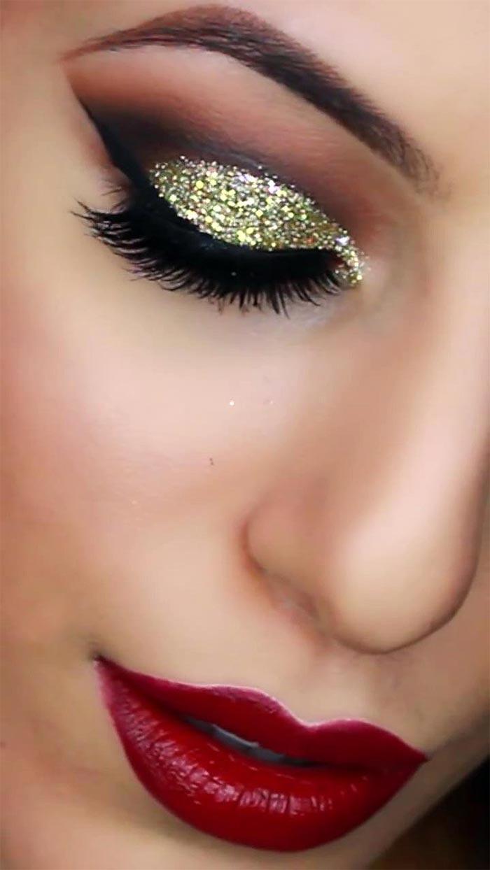 Maquiagem dourada para festas