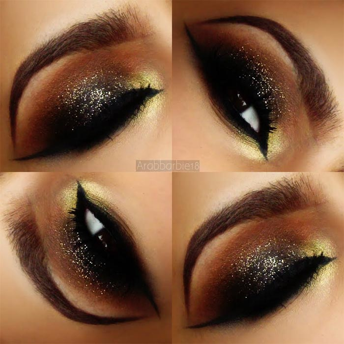 Maquiagem marrom com glitter