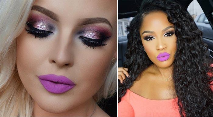 Maquiagens com batom lilás
