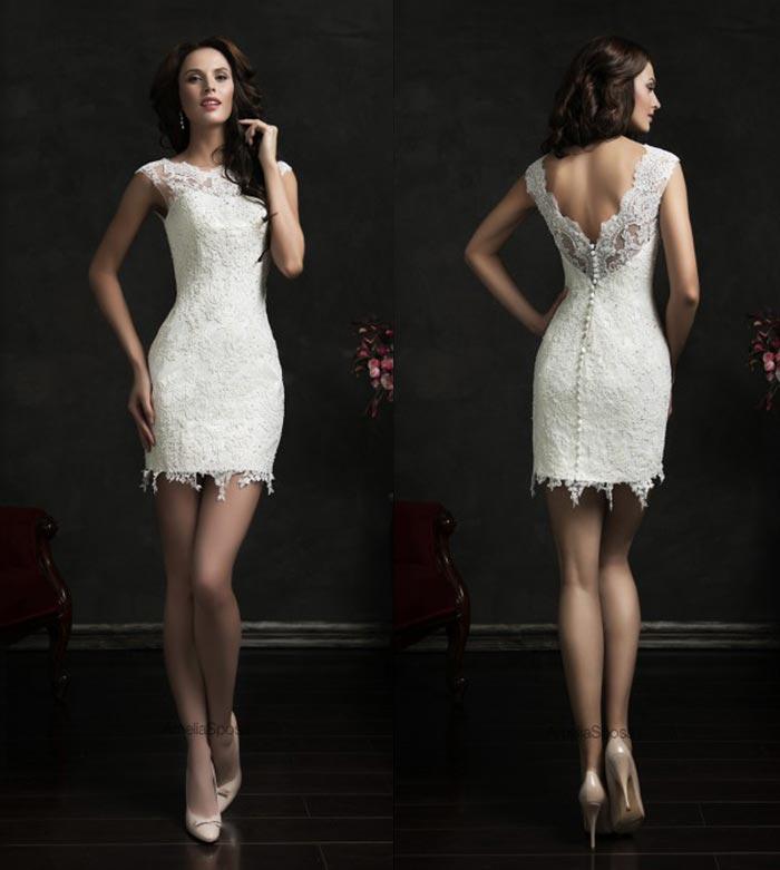 5b33e454c1 Vestido de noiva curto decote nas costas