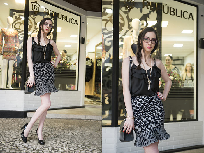 Look preto e branco - saia e blusinha