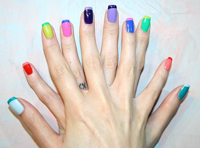Unhas decoradas francesinha coloridas