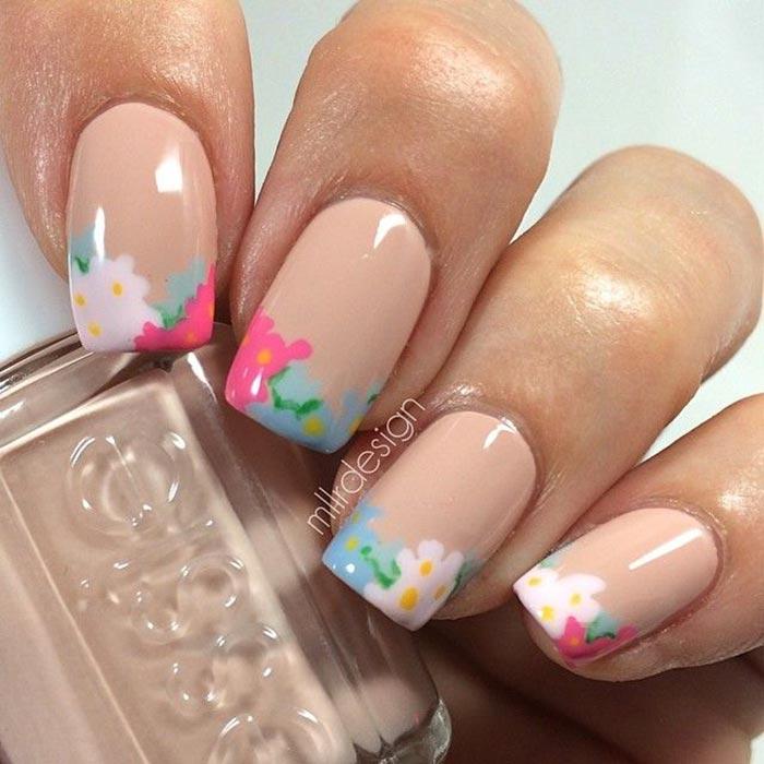 Unhas francesinhas floral