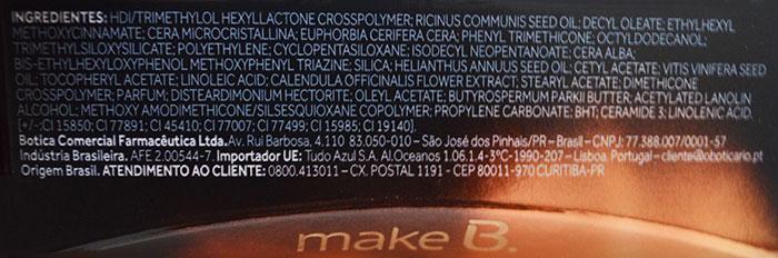 Ingredientes do batom Make B. Lumina O Boticário