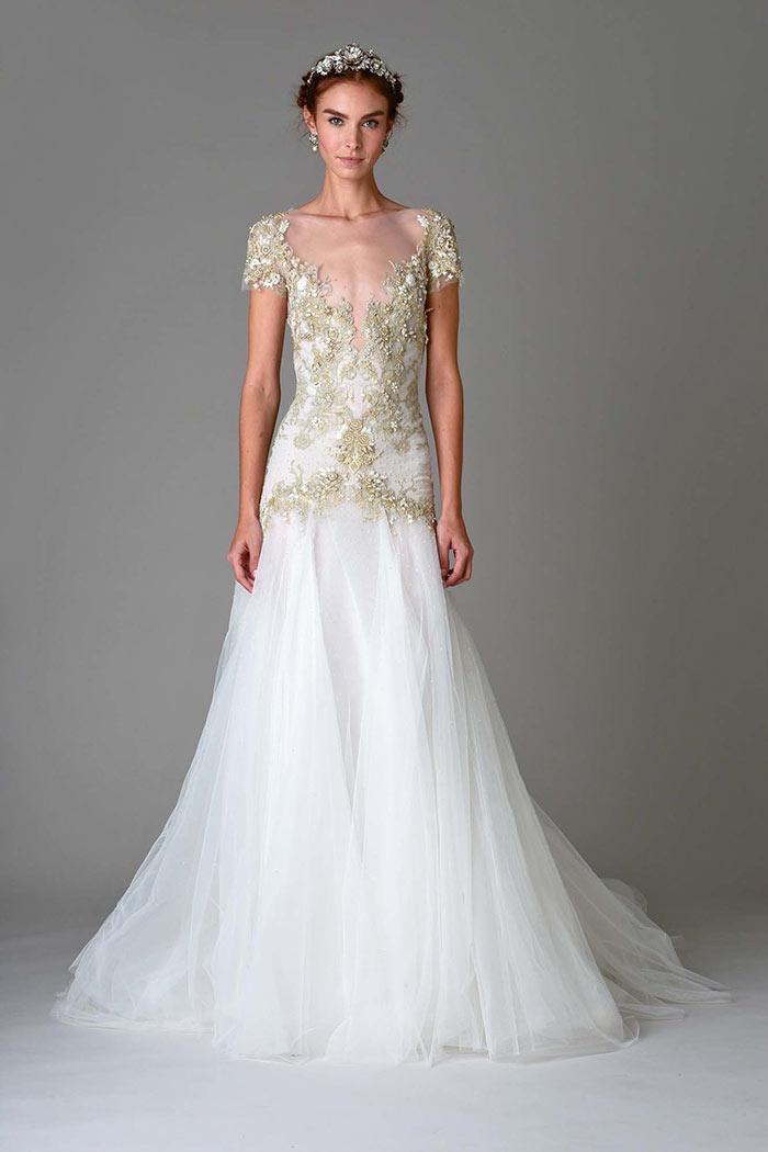 Marchesa: Vestido de noiva com dourado