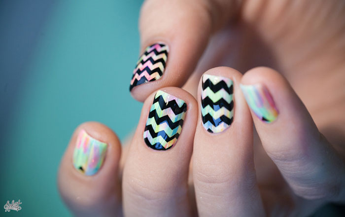 Unhas decoradas chevron