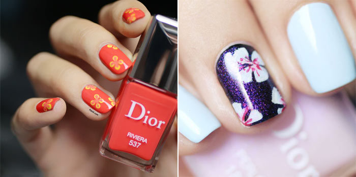 Unhas decor com flores