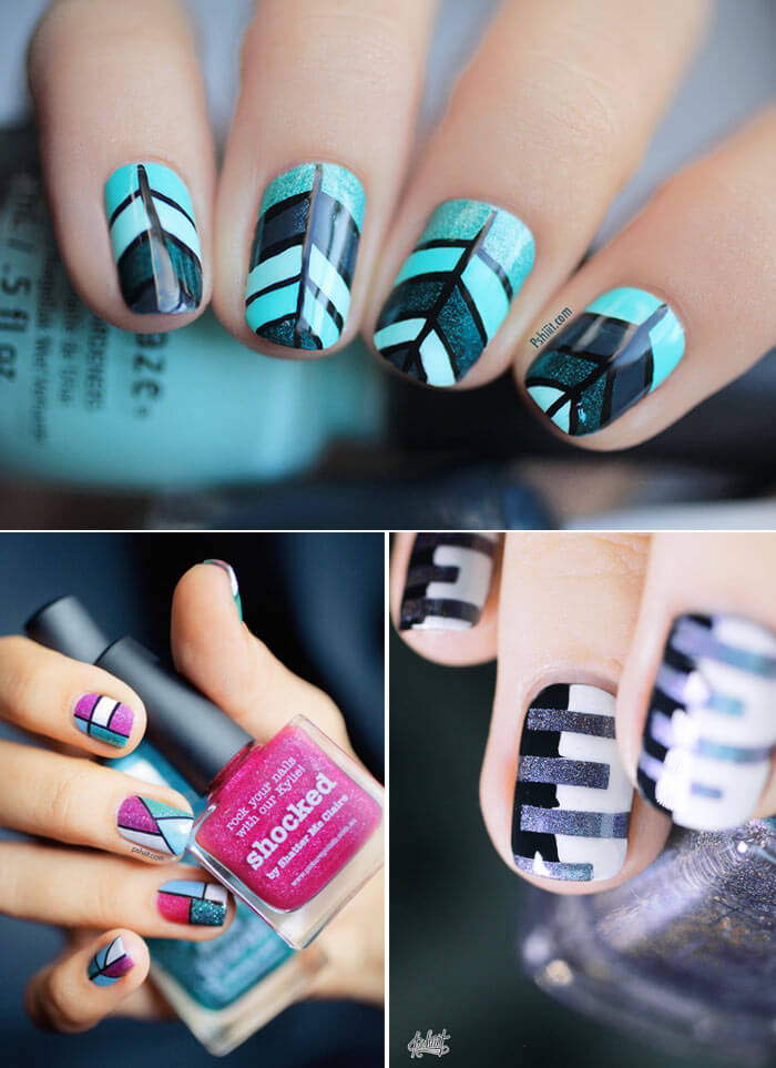 Unhas decoradas - chevron