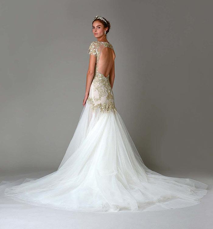 Marchesa: Vestido de noiva com dourado, costas