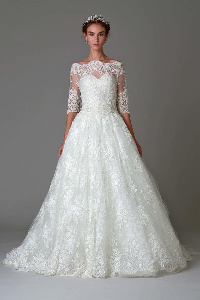 Vestido de noiva com mangas Marchesa