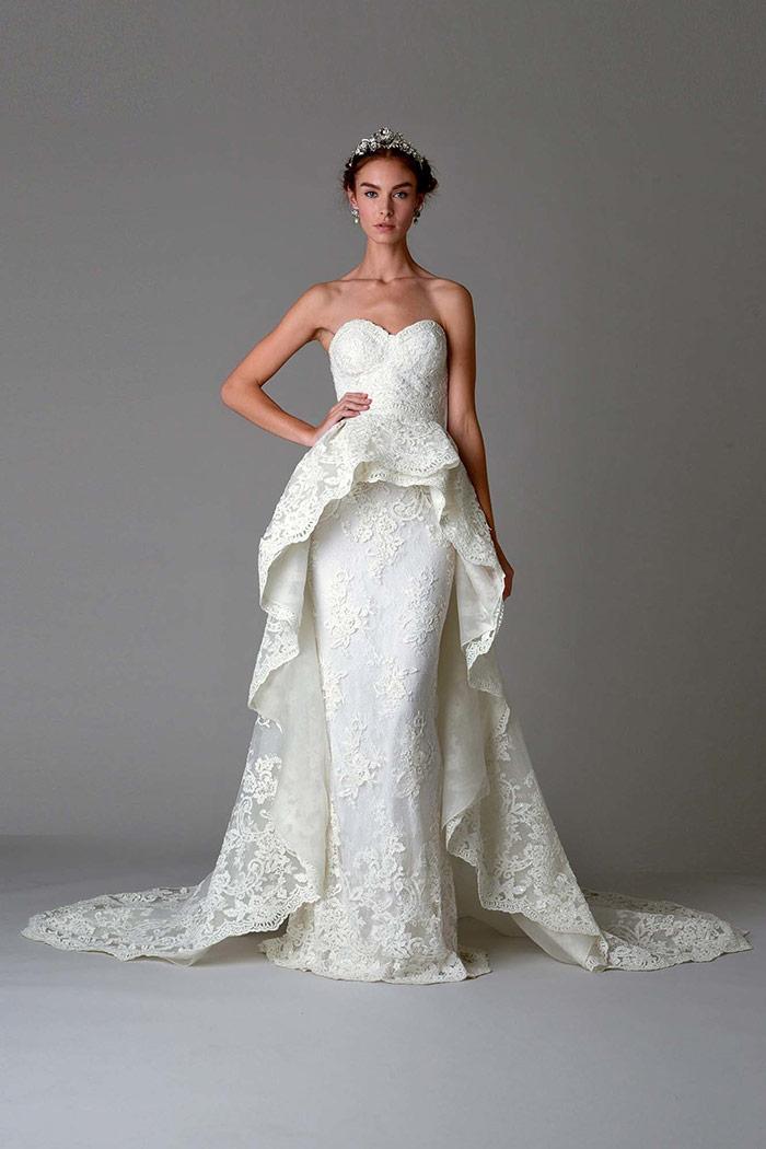 Vestido de noiva com renda Marchesa
