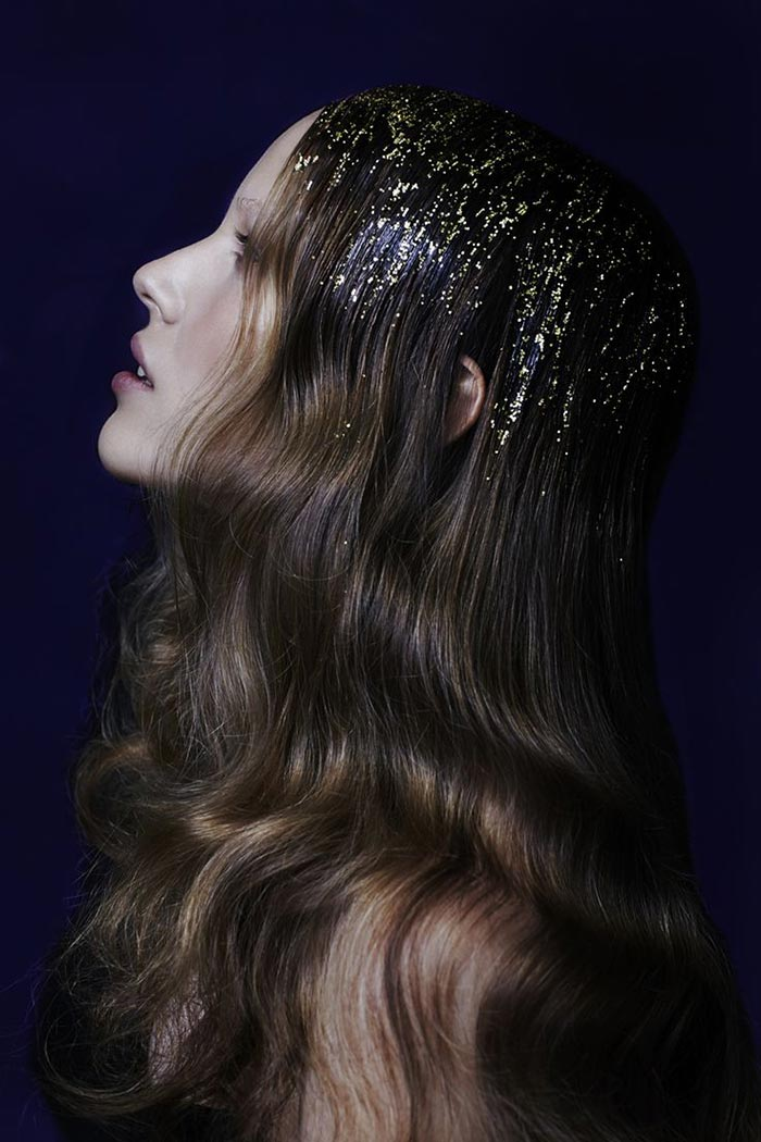Glitter hair dourado