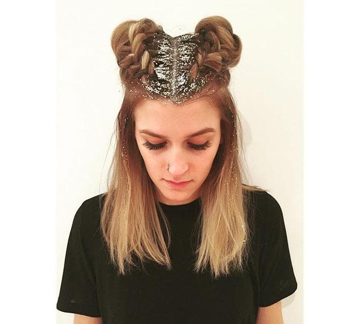 Penteado com glitter hair