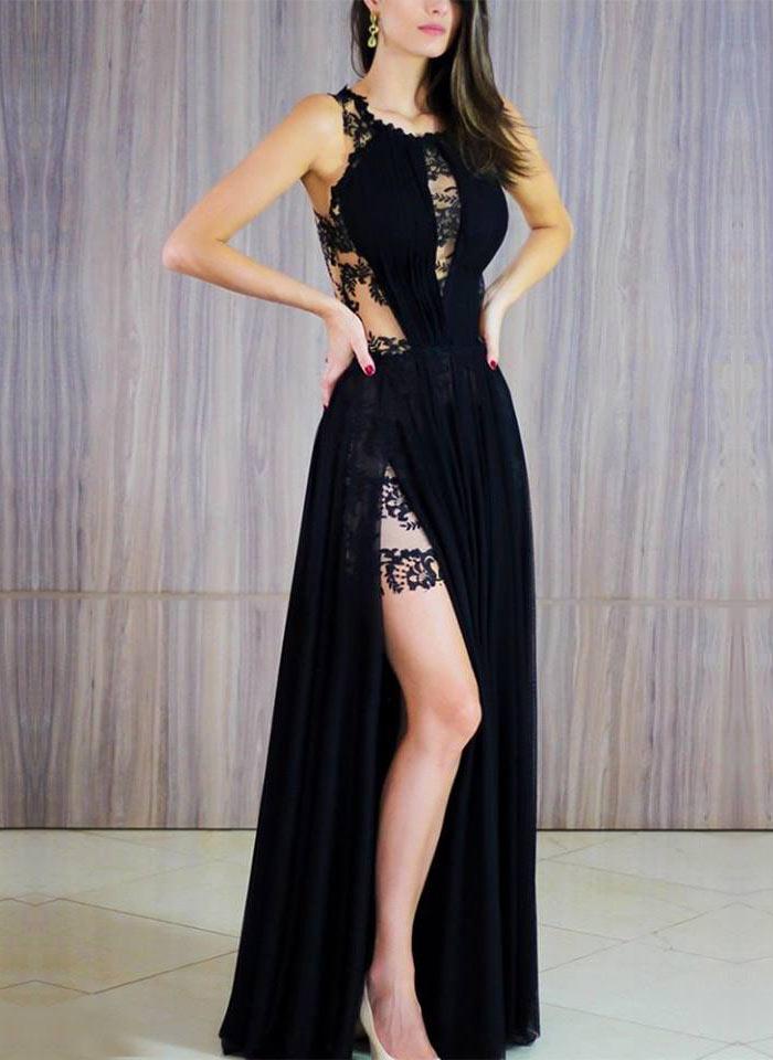 Vestido de festa longo com fenda na perna