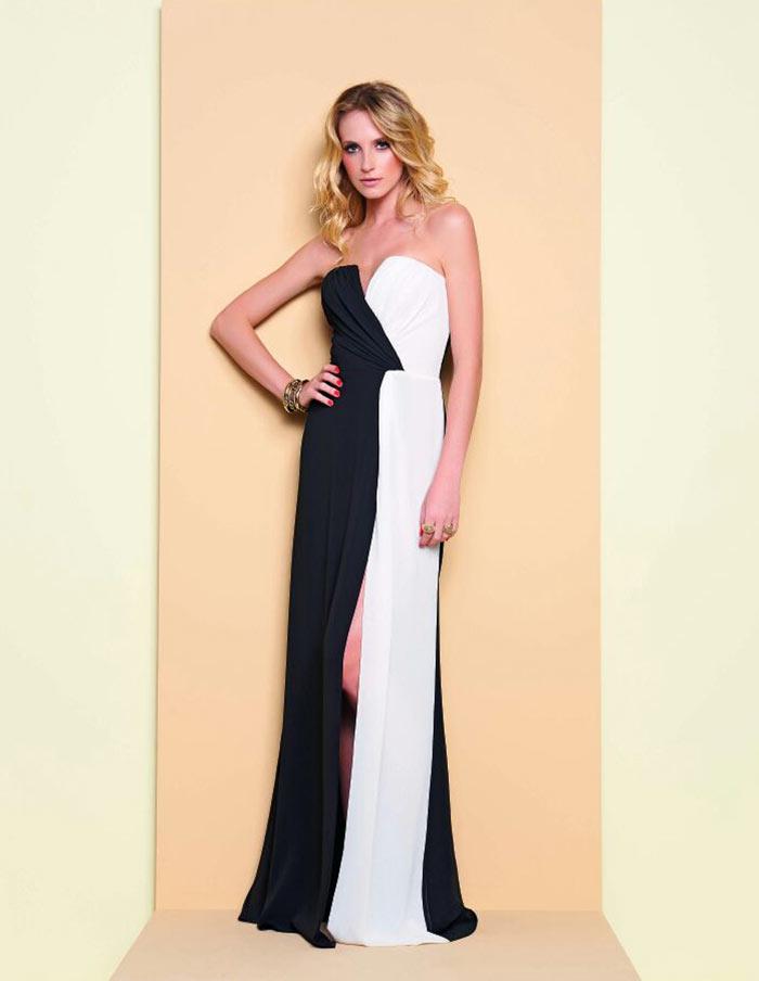 Vestido preto e branco com fenda