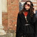 Vestido de lã e capa em Milão – Inverno 2016