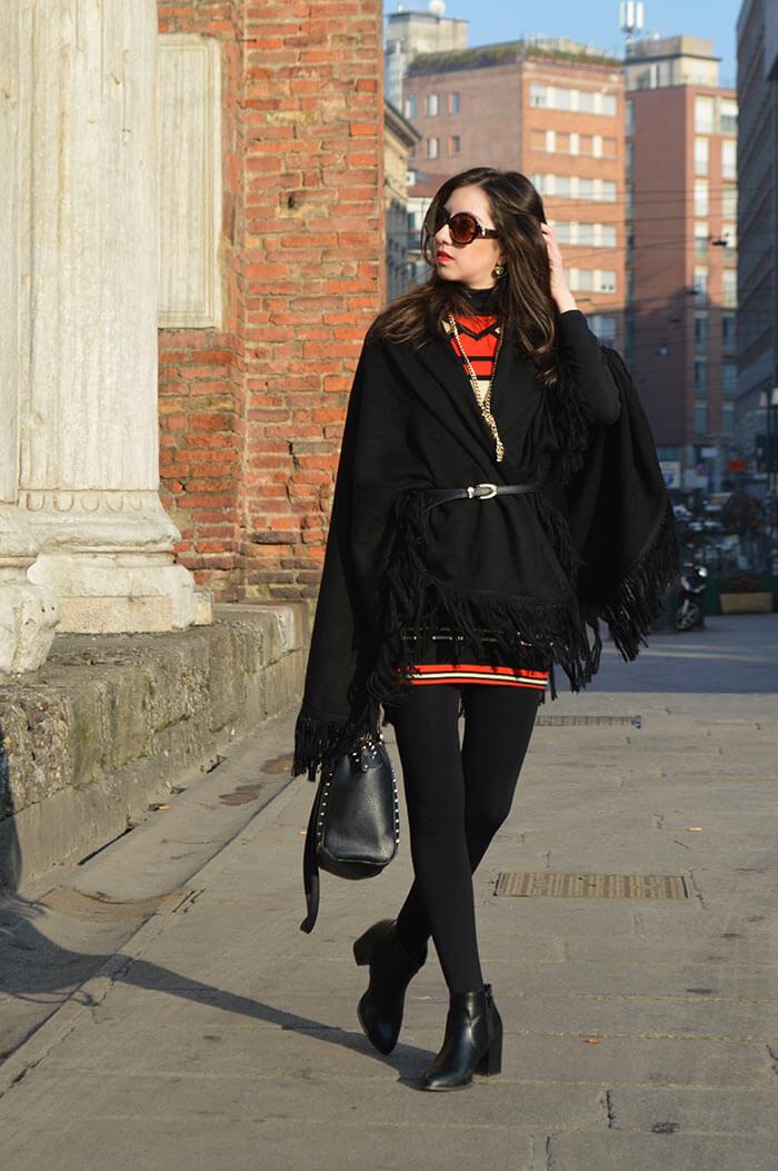 Vestido de lã - Look de inverno em Milão