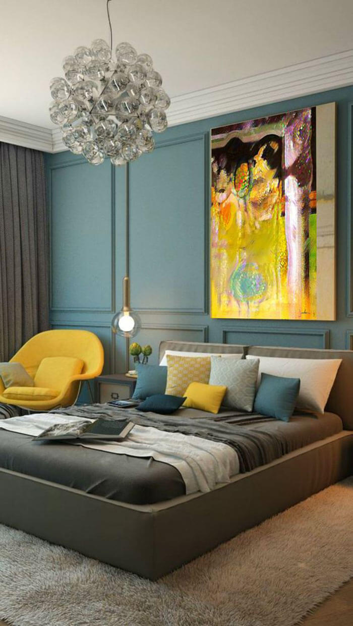 Resultado de imagem para quarto de casal Cinza, amarelo, branco e laranja